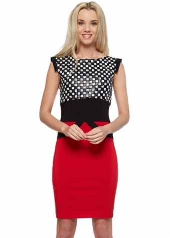 Tempest Ollie Monochrome Sequinned Red Pencil Dress