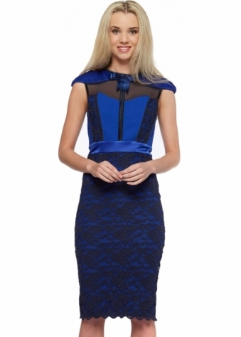 Tempest Hunter Dress In Cobalt With Navy Blue Lace