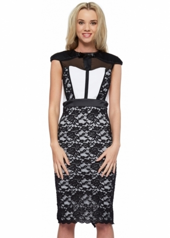 Hunter Dress In White With Black Lace