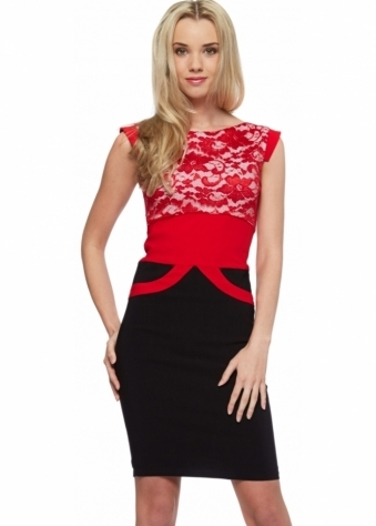 Tempest Black & Red Ollie Lace Pencil Dress
