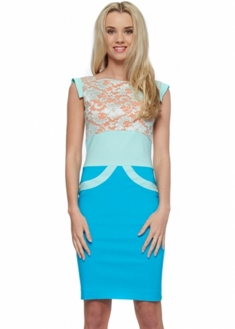 Tempest Turquoise Orange & Mint Ollie Lace Pencil Dress