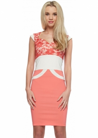 Tempest Olivia Coral Lace Sweetheart Neckline Pencil Dress