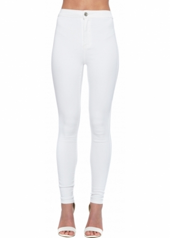 High Waisted White Stretch Fit Skinny Jeans