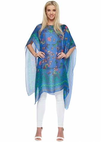 Designer Desirables Oversized Cobalt Open Kaftan With Multicoloured Butterfly Print