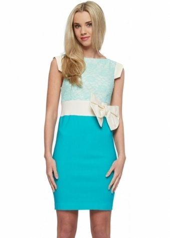 Hazel Bow Lace Colourblock Pencil Dress