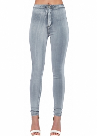 High Waisted Light Grey Stretch Fit Skinny Jeans