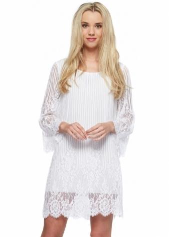 Monton White Lace Fluted Sleev Mini Shift Dress
