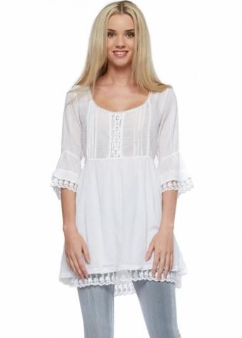 Sugar Babe White Cotton Tie Back Tunic Dress
