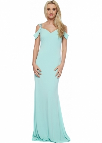 Mint Raven Evening Dress With Jewelled Cut Out Shoulders