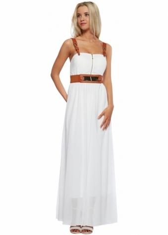 Designer Desirables White Chiffon Faux Leather Buckle Strap Maxi Dress