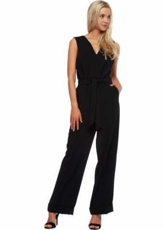 Black Tailored Wide Leg Crepe Jumpsuit