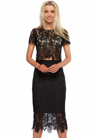 Bunny Set Black Lace Pencil Skirt & Cropped Top