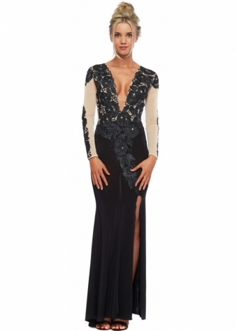 Black & Nude Painted Crystal Flower Juliet Evening Gown