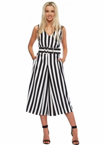 Designer Desirables Black & White Striped Belted Midi Cullote Dress