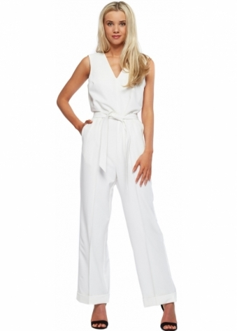 Designer Desirables Ivory Tailored Wide Leg Crepe Jumpsuit