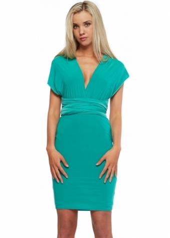 Designer Desirables Jade Green Silky Jersey Wrap Midi Dress