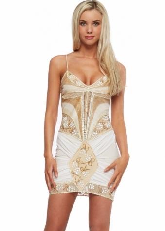 Holt Bodycon White Painted Mini Dress