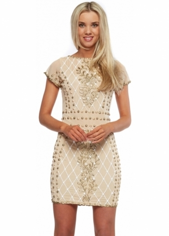 Nude Gold & White Hand Painted Lilly Mini Dress