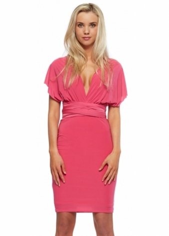 Hot Pink Silky Jersey Wrap Midi Dress