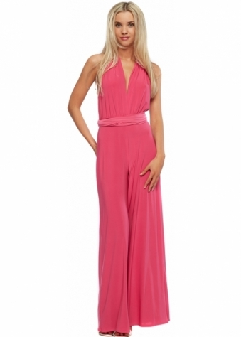 Hot Pink Silky Halterneck Wide Leg Jumpsuit