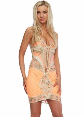 Holt Orange Hand Painted Mini Party Dress