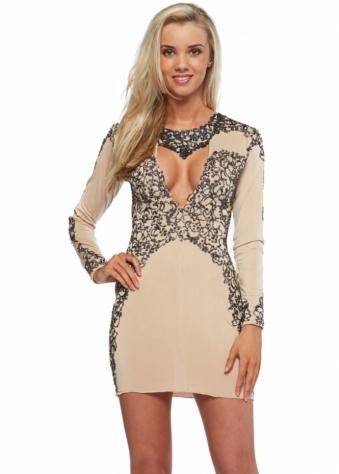 Amber Nude Black Painted Long Sleeved Mini Dress