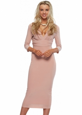 Blush Pink Silky Jersey Midi Dress With Diamonte Necklace
