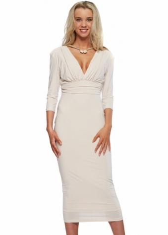 Oyster Silky Jersey Midi Dress With Diamonte Necklace