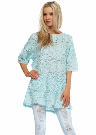 Designer Desirables Aqua Ribbon Mesh Short Sleeved Tunic Top With Zip Back