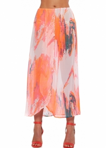 Designer Desirables Pink Neon Splash Print Summer Beach Skirt
