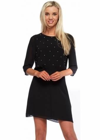 Bradshow Sheer Black Diamonte Encrusted Mini Dress