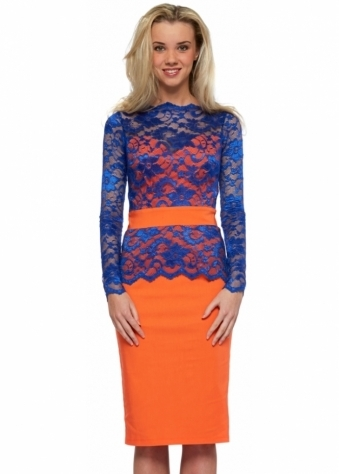 Tempest Cobalt Blue Lace Overlay Orange Billie Pencil Dress