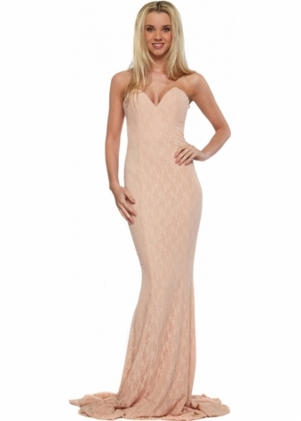 Gabriella Blush Lace Evening Dress With Bustier Top & Long Train
