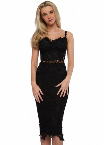Kimmy Black Lace Two Piece Pencil Midi Skirt & Top