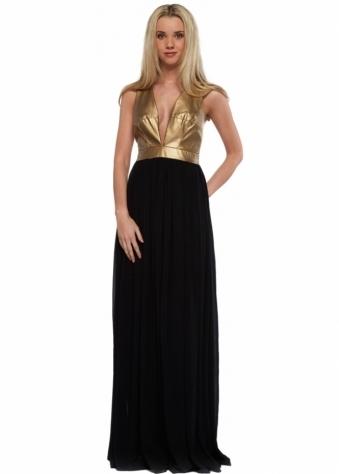 Goddess London Black Chiffon Maxi Dress With Gold PU Bodice