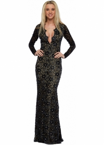 Eli Black Lace Hand Painted Diamonte Evening Gown