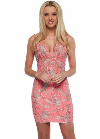 Coral & Silver Hand Painted Backless Brie Mini Party Dress
