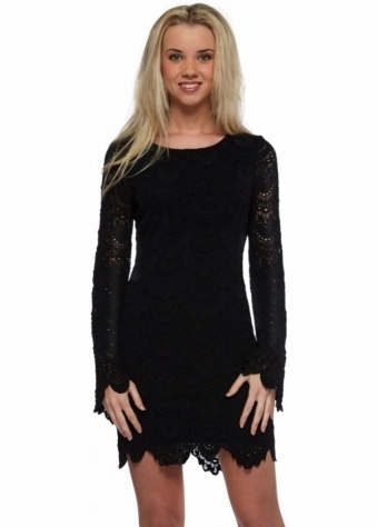 Tie Back Priscilla Dress In Black Spanish Lace