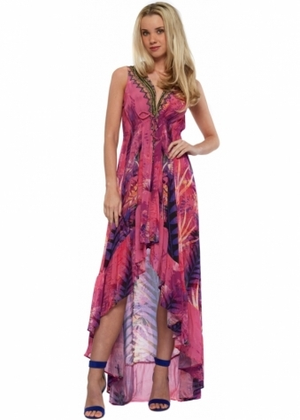 Pink & Purple Silk Crepe Palm Print Hi Low Maxi Dress