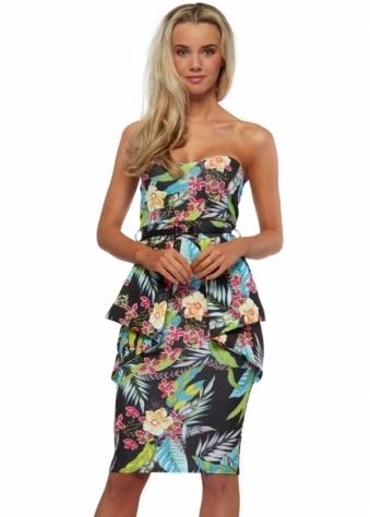 Designer Desirables Black Floral Print Deep Peplum Belted Midi Pencil Dress