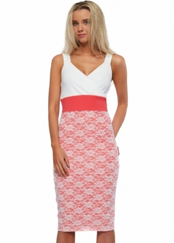 Honor Gold Madison Coral Pink & White Bodycon Midi Dress