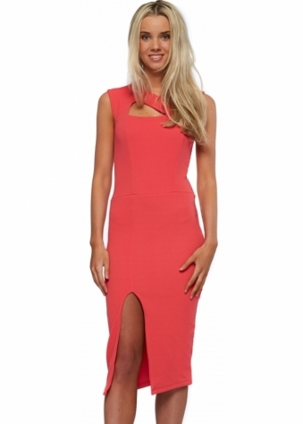 Honor Gold Coral Lexi Midi Dress With Split