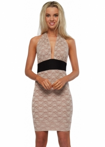 Honor Gold Beige Lace Halter Neck Mini Dress With Contrast Waist
