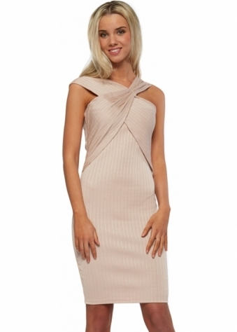 Kelly Blush Bandage Cross Over Wrap Bust Midi Dress
