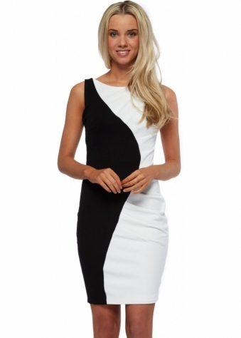 Goddess London Monochrome Colour Block Ruched Sleeveless Dress