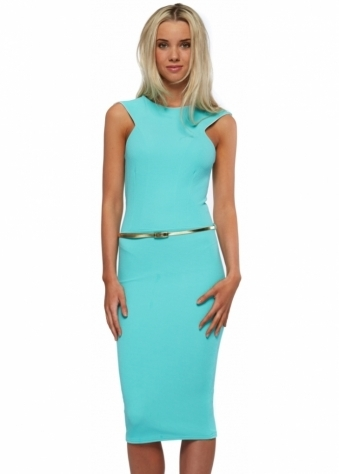 Honor Gold Nikki Pencil Dress In Mint With Gold Belt