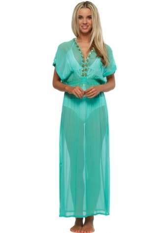 Marbella Gold Beaded Aqua Silk Maxi Kaftan Dress