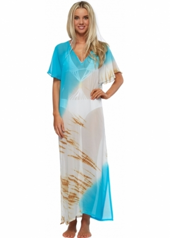 Bora Bora Island Love Turquoise & Honey Long Silk Kaftan
