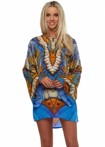 Parides Dazzling Blue Silk Crepe Metamorphosis Kaftan Mini Dress