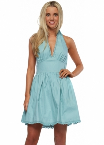 Green Cotton Pinafore Mini Dress With Long Bow Ties
